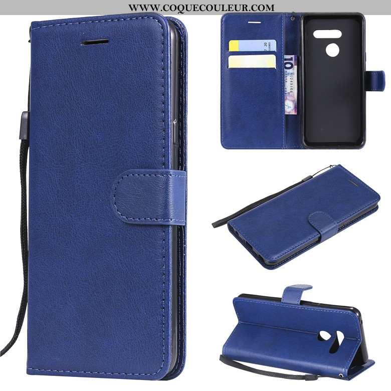 Coque Lg V30 Cuir Housse Bleu, Lg V30 Protection Couleur Unie Bleu