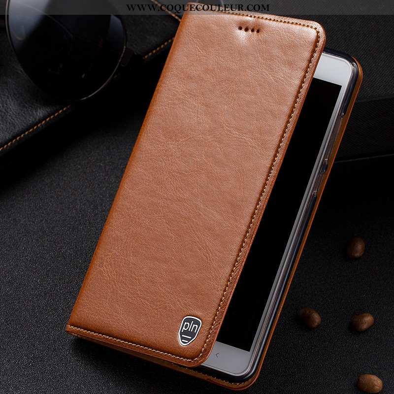 Housse Lg V30 Modèle Fleurie Coque Cuir Véritable, Étui Lg V30 Protection Téléphone Portable Marron