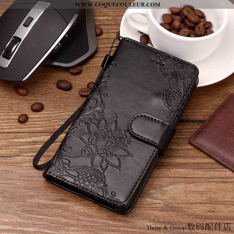Coque Lg V30 Cuir Noir Incassable, Housse Lg V30 Fluide Doux Téléphone Portable