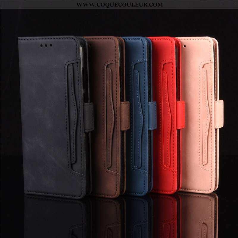 Coque Moto E6 Plus Cuir Noir Étui, Housse Moto E6 Plus Téléphone Portable