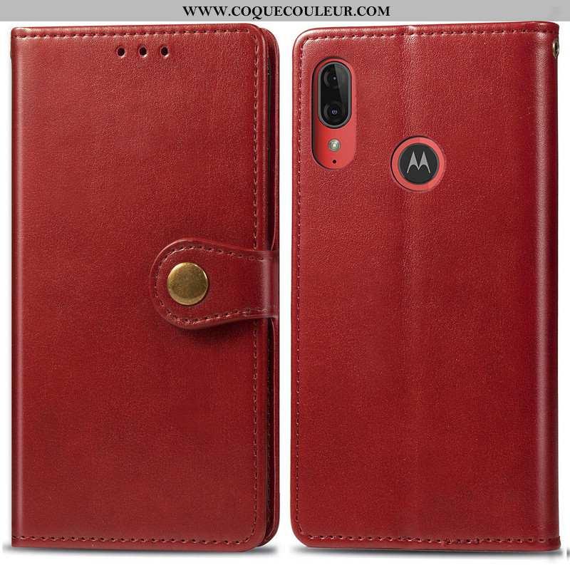 Étui Moto E6 Plus Cuir Housse, Coque Moto E6 Plus Protection Téléphone Portable Rouge
