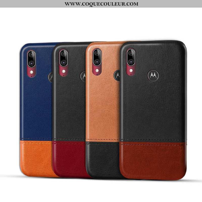 Étui Moto E6 Plus Cuir Téléphone Portable Étui, Coque Moto E6 Plus Protection Noir