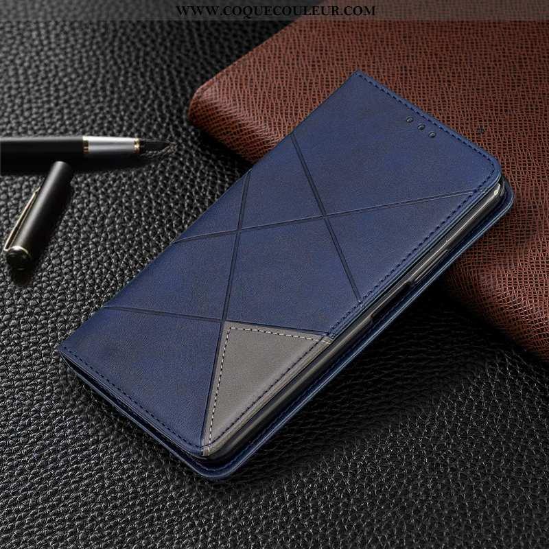 Housse Moto E6 Plus Protection Étui, Étui Moto E6 Plus Cuir Bleu Marin Bleu Foncé