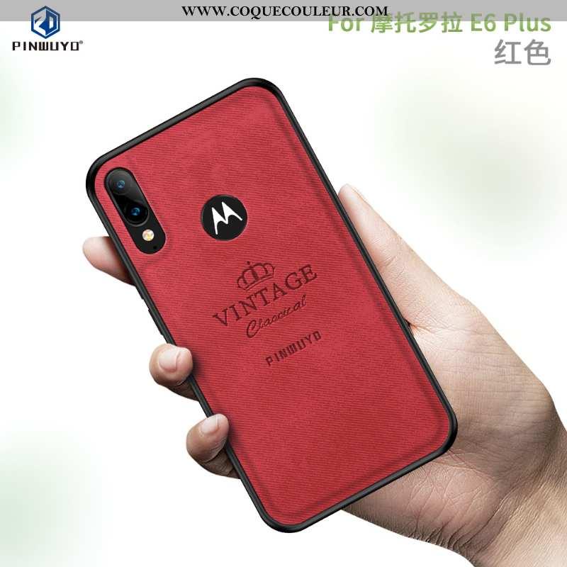 Étui Moto E6 Plus Protection Coque, Coque Moto E6 Plus Modèle Fleurie Rouge