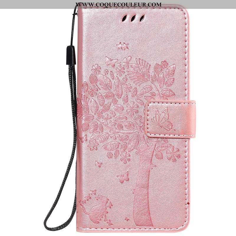 Housse Moto E6 Plus Protection Carte Coque, Étui Moto E6 Plus Cuir Téléphone Portable Rose