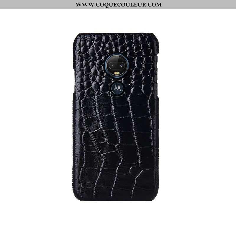 Étui Moto G7 Mode Personnalisé Cuir Véritable, Coque Moto G7 Protection Téléphone Portable Noir
