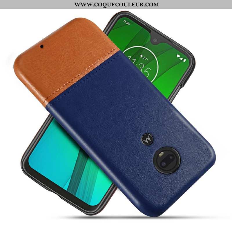 Étui Moto G7 Protection Qualité Coque, Coque Moto G7 Personnalité Incassable Bleu