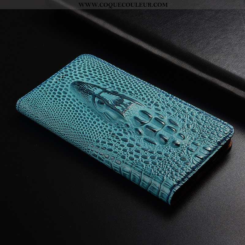 Coque Moto G7 Cuir Véritable Téléphone Portable, Housse Moto G7 Modèle Fleurie Protection Bleu