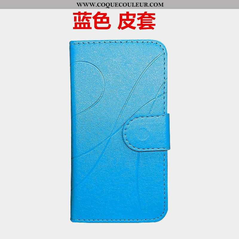 Coque Moto G7 Cuir Étui Téléphone Portable, Housse Moto G7 Fluide Doux Bleu