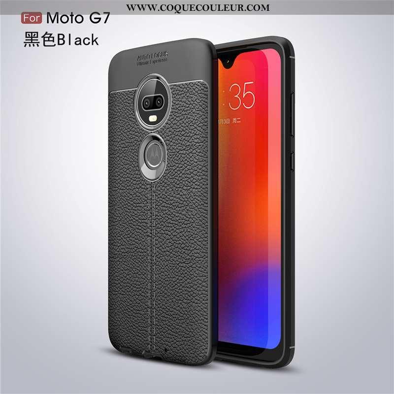 Housse Moto G7 Créatif Business Silicone, Étui Moto G7 Cuir Coque Noir