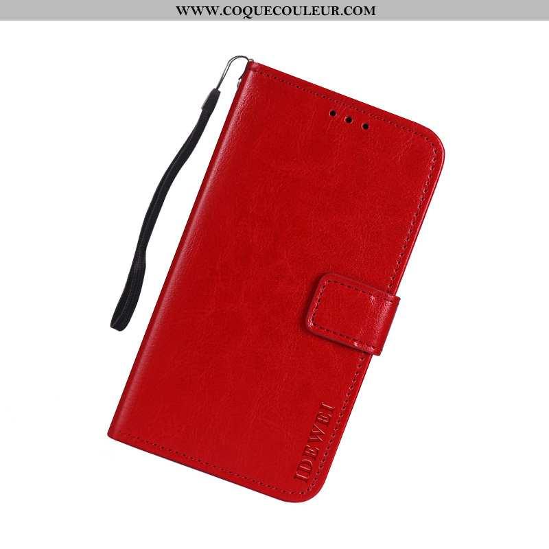 Étui Moto G7 Play Portefeuille Coque Téléphone Portable, Moto G7 Play Cuir Europe Rouge