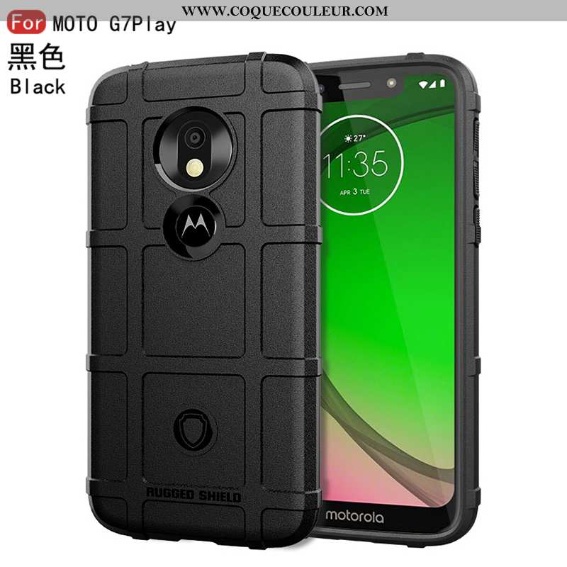Étui Moto G7 Play Silicone Fluide Doux Bordure, Coque Moto G7 Play Protection Tendance Noir