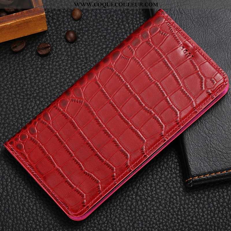 Housse Moto G7 Play Protection Incassable Téléphone Portable, Étui Moto G7 Play Cuir Rouge