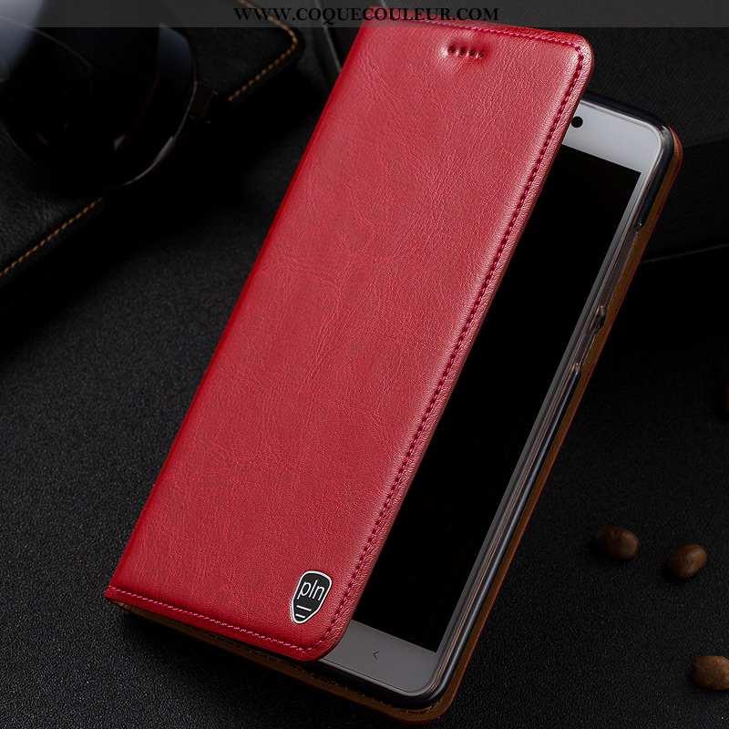 Housse Moto G7 Play Protection Modèle Fleurie Téléphone Portable, Étui Moto G7 Play Cuir Coque Rouge