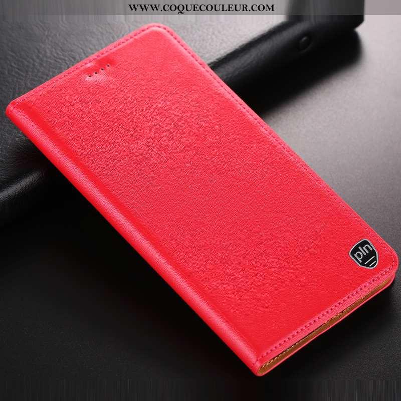 Étui Moto G7 Play Protection Incassable Rouge, Coque Moto G7 Play Cuir Téléphone Portable Rouge