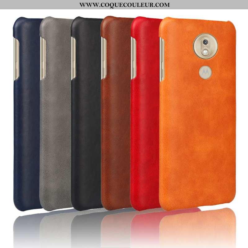 Housse Moto G7 Play Protection Étui Cuir, Moto G7 Play Délavé En Daim Téléphone Portable Orange