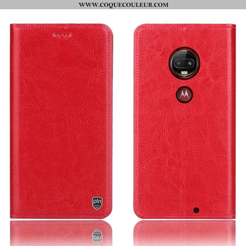 Étui Moto G7 Plus Cuir Véritable Rouge, Coque Moto G7 Plus Protection Incassable Rouge