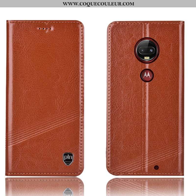 Coque Moto G7 Plus Protection Téléphone Portable Coque, Housse Moto G7 Plus Cuir Véritable Marron