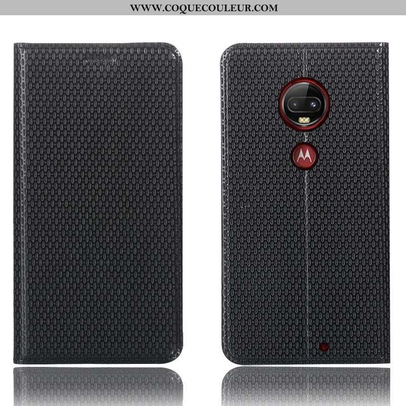 Housse Moto G7 Plus Protection Tout Compris Noir, Étui Moto G7 Plus Cuir Véritable Téléphone Portabl