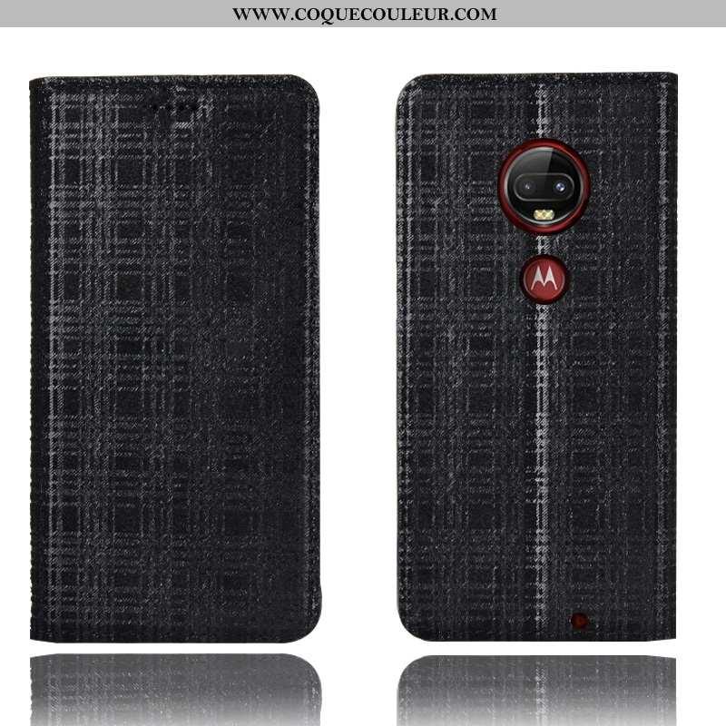 Étui Moto G7 Plus Protection Velours Noir, Coque Moto G7 Plus Cuir Véritable Tout Compris Noir