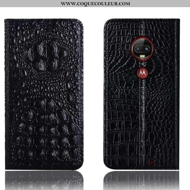 Coque Moto G7 Plus Cuir Véritable Étui Téléphone Portable, Housse Moto G7 Plus Protection Crocodile