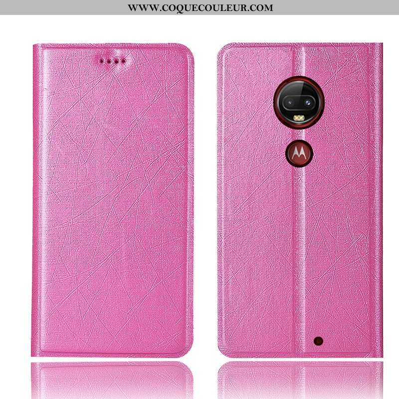 Housse Moto G7 Plus Protection Incassable Housse, Étui Moto G7 Plus Cuir Téléphone Portable Rose