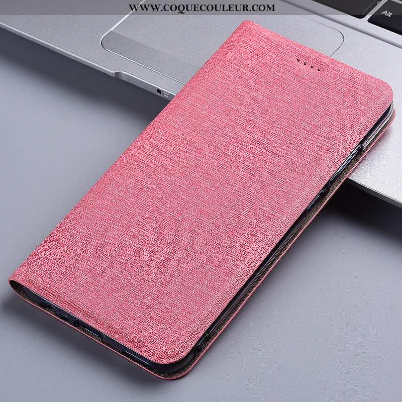 Housse Moto G7 Power Protection Téléphone Portable Lin, Étui Moto G7 Power Cuir Rose