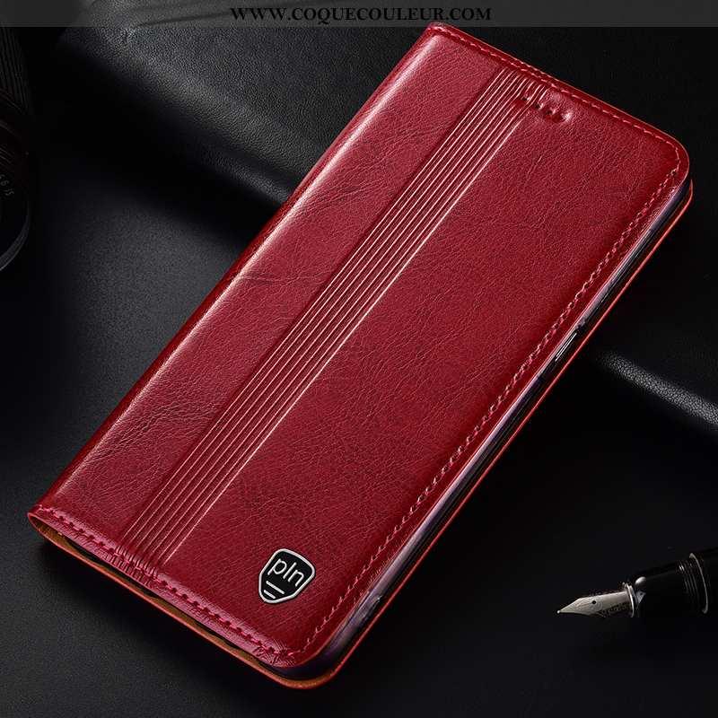 Coque Moto G7 Power Cuir Véritable Téléphone Portable Coque, Housse Moto G7 Power Protection Rouge