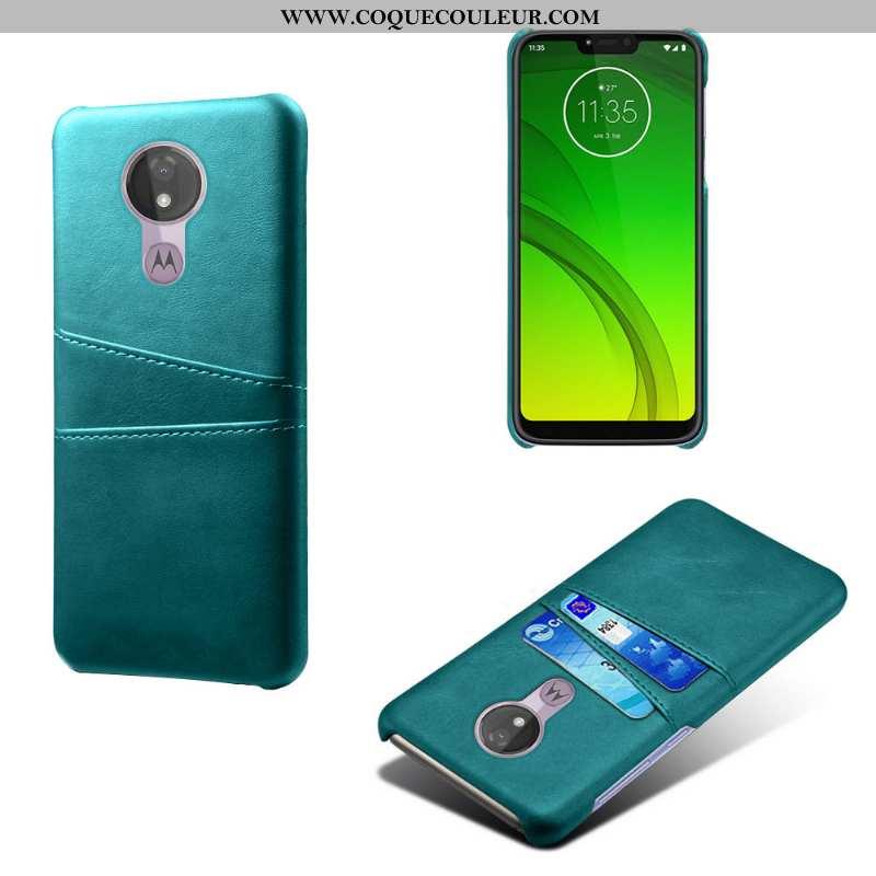 Coque Moto G7 Power Cuir Carte Coque, Housse Moto G7 Power Difficile Téléphone Portable Bleu