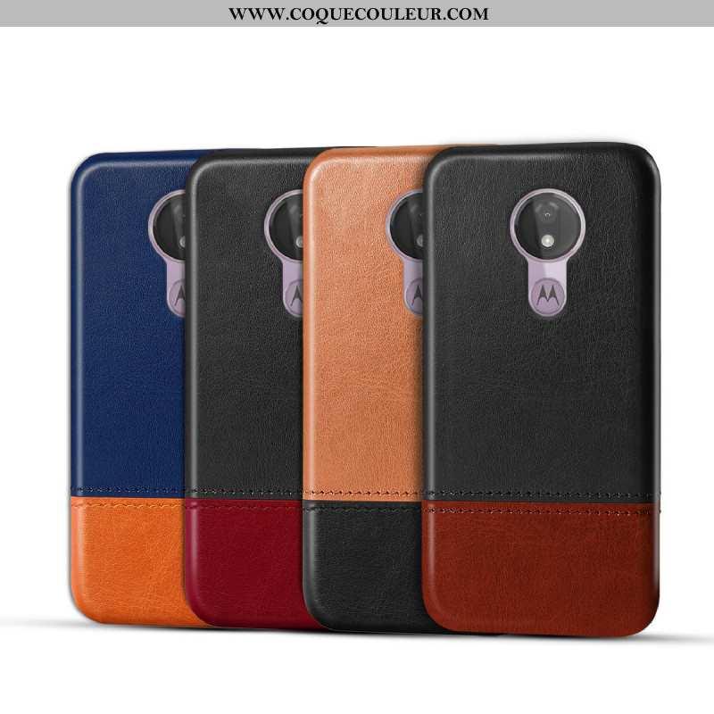 Housse Moto G7 Power Protection Téléphone Portable Noir, Étui Moto G7 Power Cuir Véritable Coque Noi
