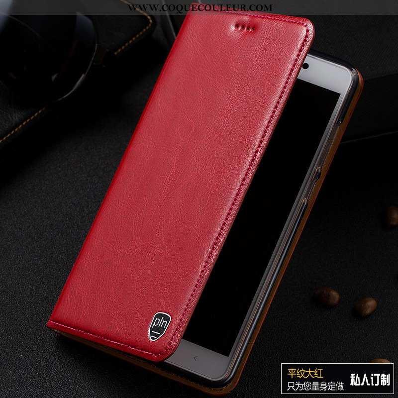 Coque Moto G7 Power Modèle Fleurie Incassable Rouge, Housse Moto G7 Power Protection Cuir Véritable