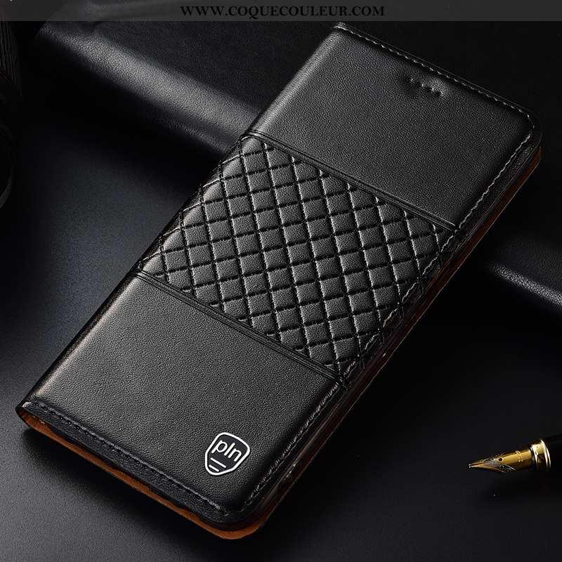 Coque Moto G7 Power Cuir Véritable Étui Coque, Housse Moto G7 Power Protection Incassable Noir