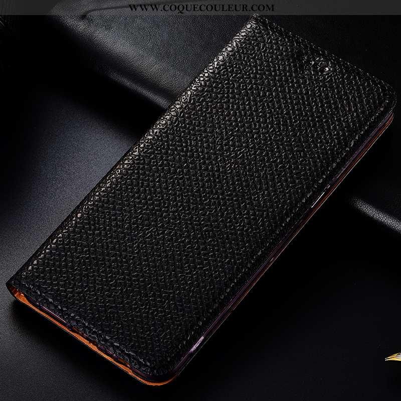 Coque Moto G7 Power Cuir Véritable Mesh Téléphone Portable, Housse Moto G7 Power Cuir Modèle Fleurie