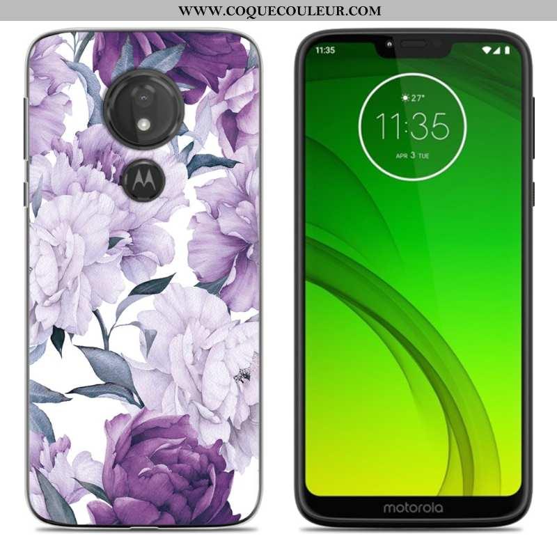 Coque Moto G7 Power Fluide Doux Téléphone Portable Étui, Housse Moto G7 Power Dessin Animé Nouveau V