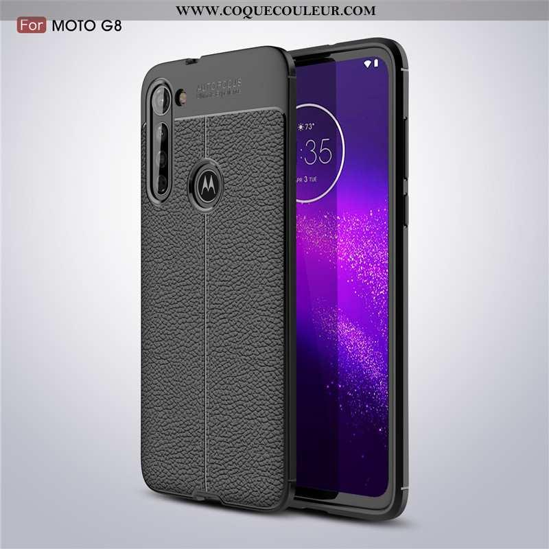 Coque Moto G8 Fluide Doux Antidérapant Cuir, Housse Moto G8 Protection Noir