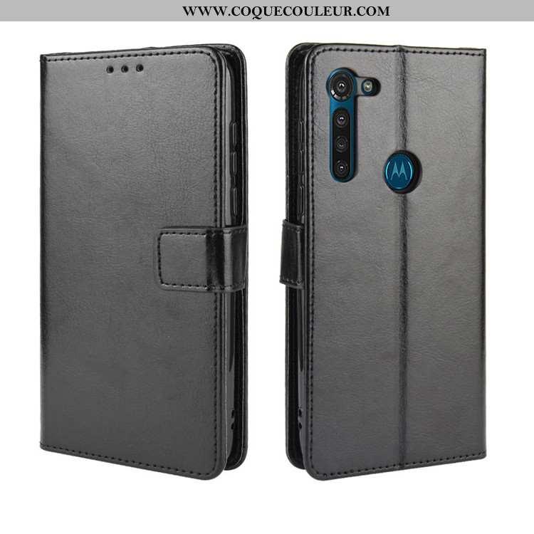 Étui Moto G8 Cuir Téléphone Portable Étui, Coque Moto G8 Protection Ornements Suspendus Noir