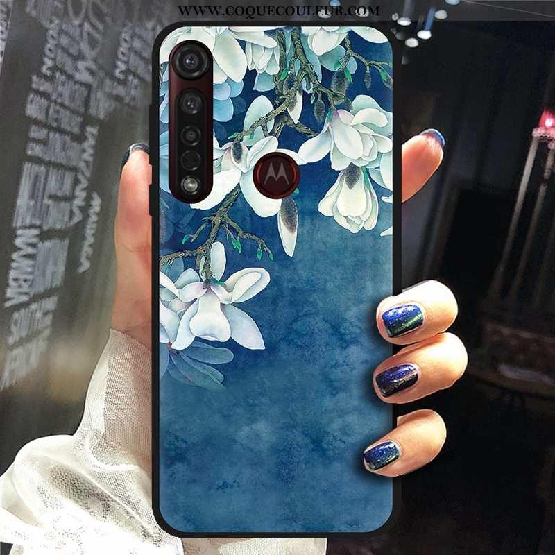 Coque Moto G8 Plus Dessin Animé Téléphone Portable Tissu, Housse Moto G8 Plus Fluide Doux Chaud Bleu