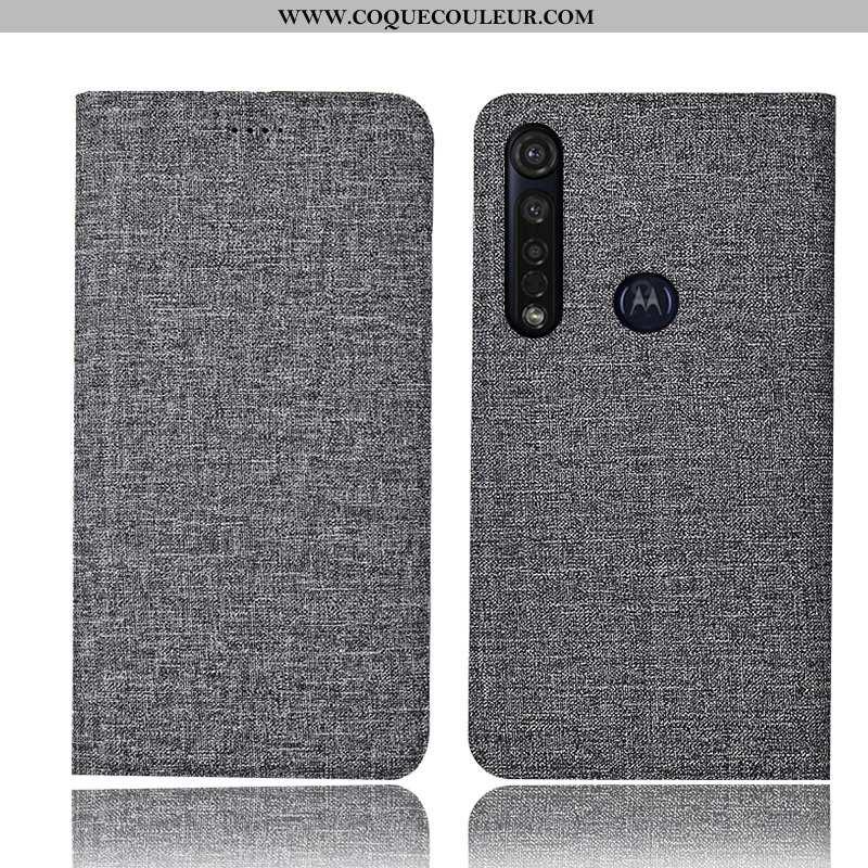 Étui Moto G8 Plus Cuir Incassable Gris, Coque Moto G8 Plus Protection Téléphone Portable Gris