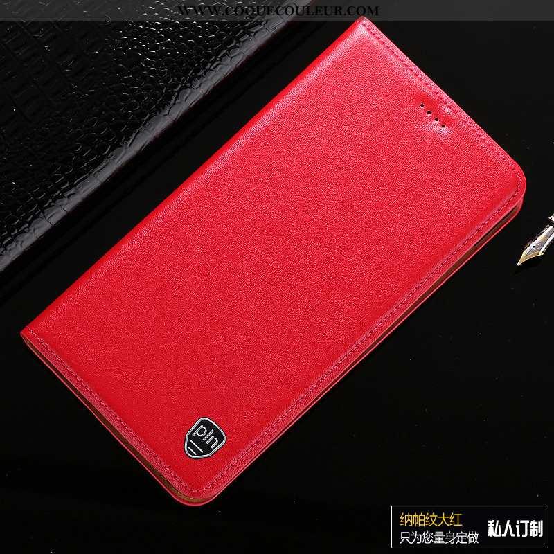 Étui Moto G8 Plus Protection Coque Téléphone Portable, Moto G8 Plus Cuir Véritable Rouge