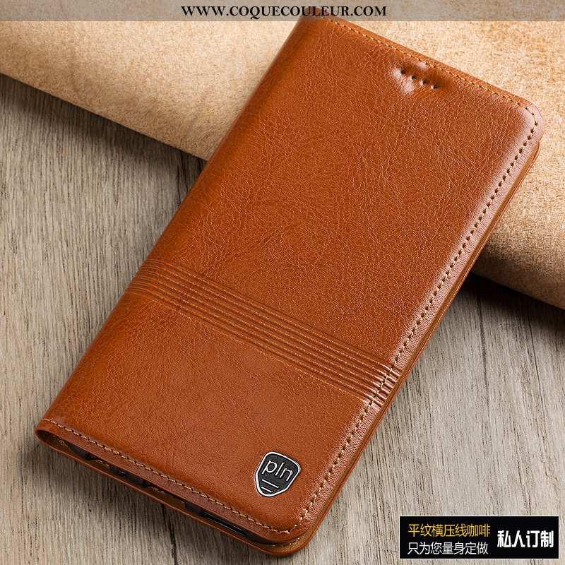 Étui Moto G8 Plus Protection Téléphone Portable Étui, Coque Moto G8 Plus Cuir Véritable Housse Marro