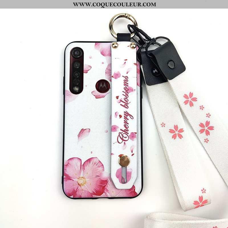 Coque Moto G8 Plus Protection Fleur Fluide Doux, Housse Moto G8 Plus Ornements Suspendus Rose