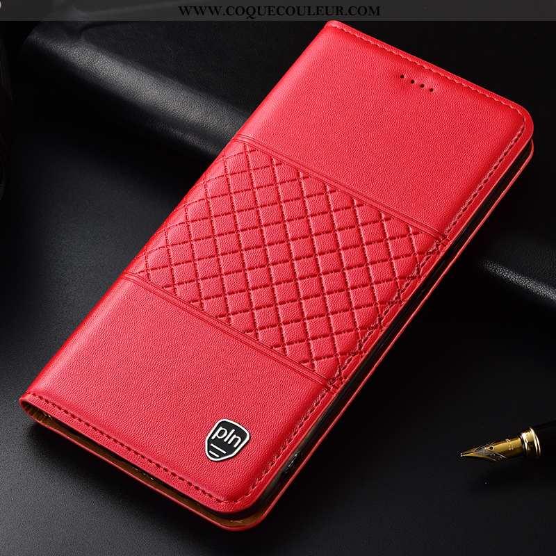 Coque Moto G8 Plus Cuir Véritable Incassable Coque, Housse Moto G8 Plus Protection Étui Rouge
