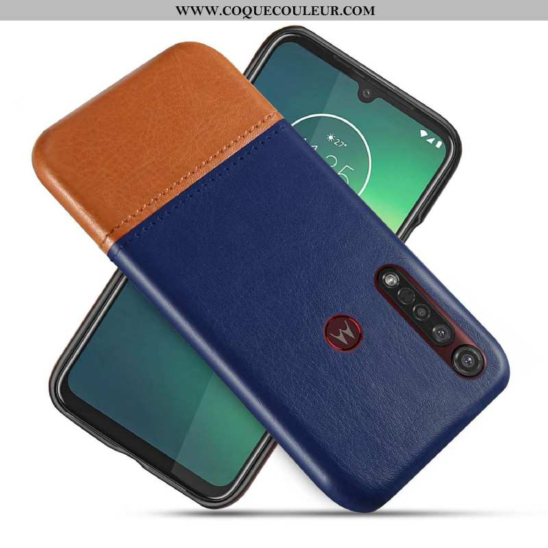 Coque Moto G8 Plus Créatif Bicolore, Housse Moto G8 Plus Cuir Bleu