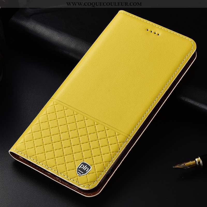 Coque Moto G8 Plus Cuir Véritable Étui, Housse Moto G8 Plus Protection Téléphone Portable Jaune