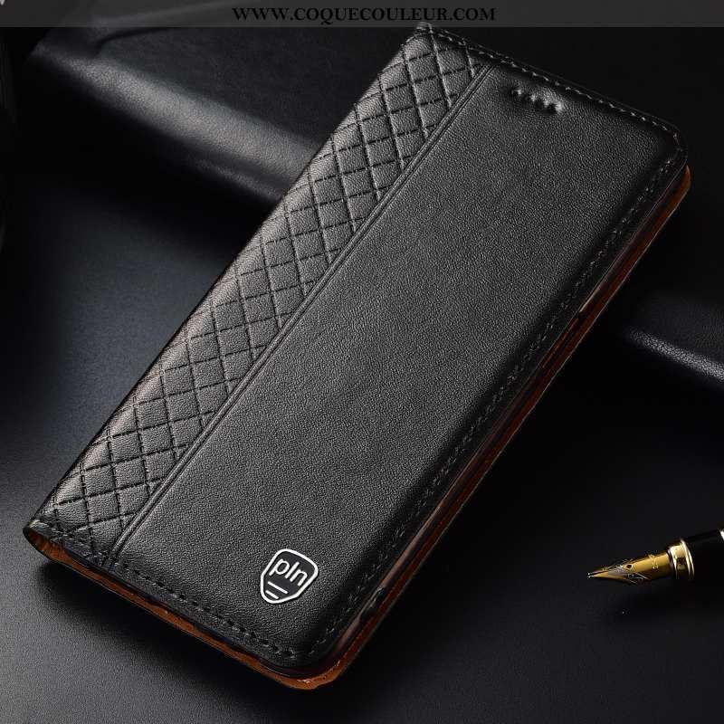 Étui Moto G8 Plus Protection Housse Noir, Coque Moto G8 Plus Cuir Véritable Noir