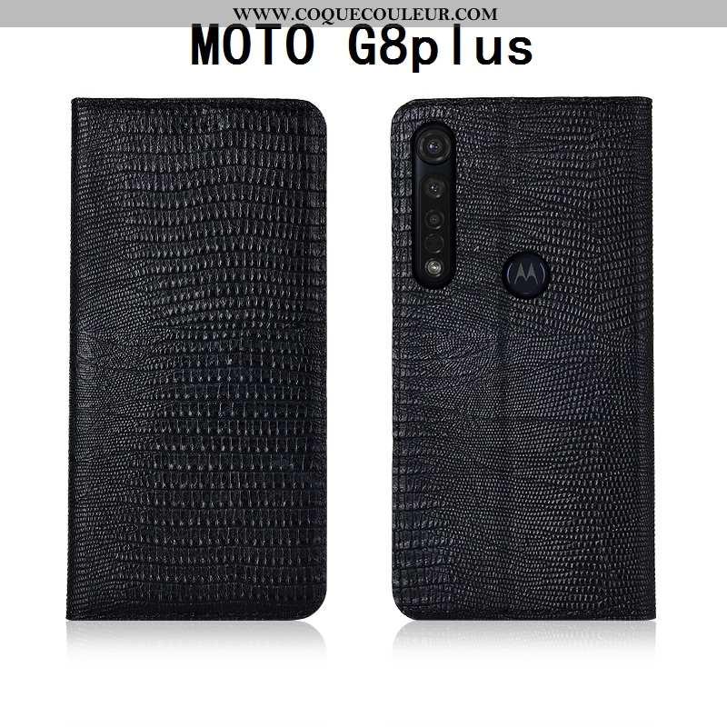 Housse Moto G8 Plus Cuir Silicone Incassable, Étui Moto G8 Plus Fluide Doux Noir