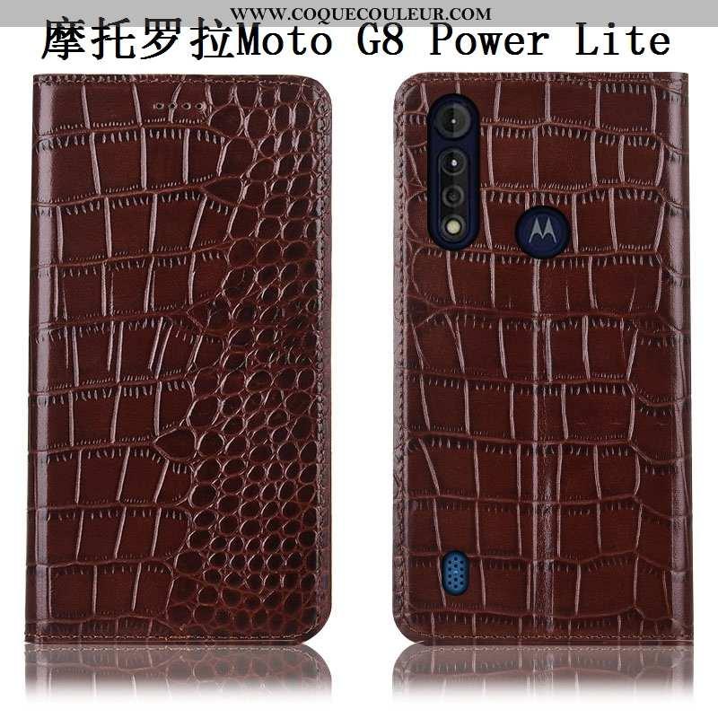 Étui Moto G8 Power Lite Modèle Fleurie Téléphone Portable Cuir Véritable, Coque Moto G8 Power Lite P