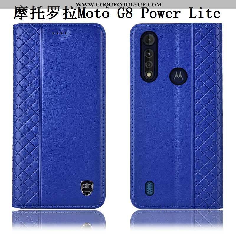 Housse Moto G8 Power Lite Cuir Véritable Coque Incassable, Étui Moto G8 Power Lite Cuir Bleu