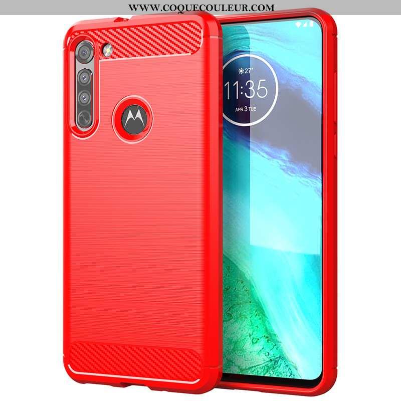 Housse Moto G8 Power Lite Protection Étui Rouge, Moto G8 Power Lite Silicone Coque Rouge