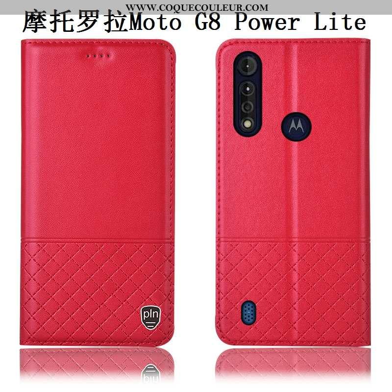 Housse Moto G8 Power Lite Cuir Véritable Incassable Téléphone Portable, Étui Moto G8 Power Lite Cuir